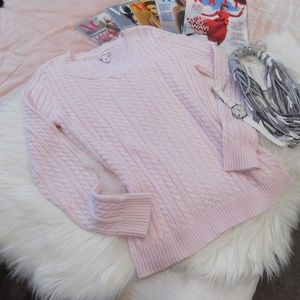 croft & barrow Sweaters - Cherry Blossom Pink Cable Knit V-neck Sweater